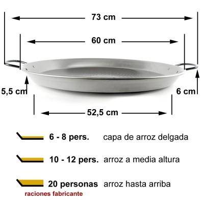 Paellera de acero pulido 60cm ø (10 a 20 raciones)