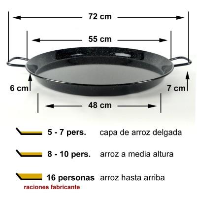 Paella vitrificada 55cm ø (8 a 16 raciones)