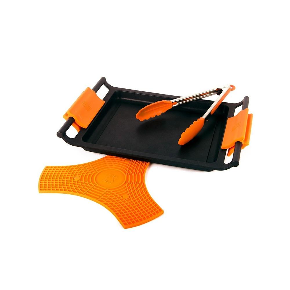 Pack plancha 35cm con asas, pinza y salvamantel bra safe