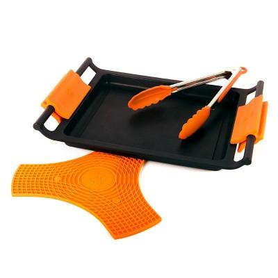 Pack plancha 45cm con asas, pinza y protector bra safe