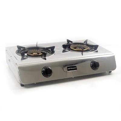 Cocina de acero inoxidable de triple corona de 2 fuegos