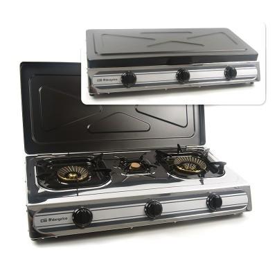Cocina de acero inoxidable de triple corona de 3 fuegos con tapa
