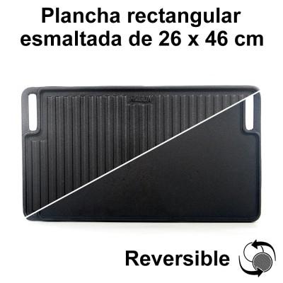 Plancha hierro fundido esmaltada rectangular 26x46cm
