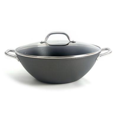 Olla horno holandés de hierro fundido 32cm con tapa de cristal